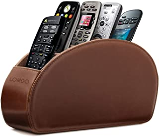Otto Remote Control Holder with 5 Pockets - Store DVD, Blu-Ray, TV, Roku or Apple TV Remotes - PU Leather with Suede Linin...