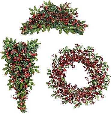 60CM Couronnes Noël Artificiels Garland Porte, Couronne De Fleurs Idéal Déco Noël pour Votre Porte, Mur Ou Fenêtre, Cheminée