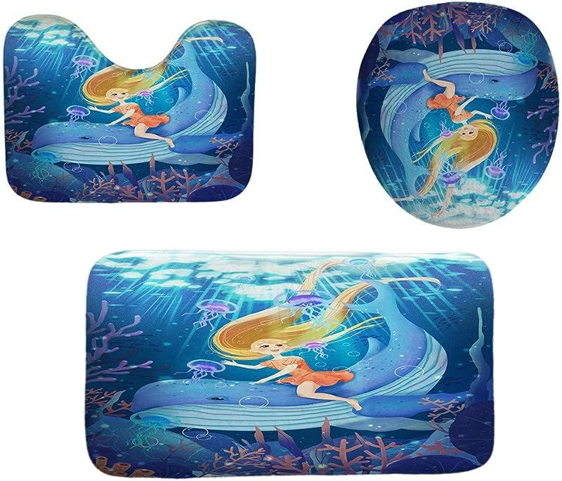 XIANAER Bathroom Mat 3Pc Marine Theme Pattern Cushion Toilet Cover Bath Mat Door Mats Non Slip Carpet Hotel Decoration
