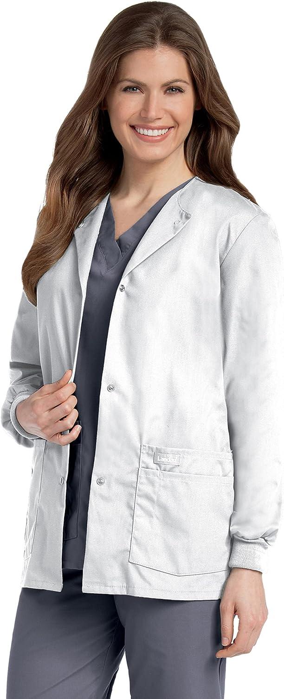 Landau Women's Premium Snap-Front 4-Pocket Crew Neck Warm-up Scrub Jacket: Clothing, Shoes & Jewelry
