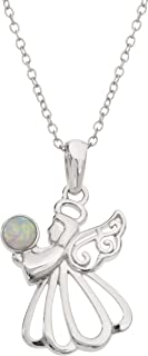 Women's Birthstone Sterling Silver Angel Pendant Necklace, 18