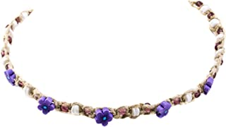 Hemp Choker Necklace with Purple Fimo Flower with Purple Glass and White Puka Clam Shells