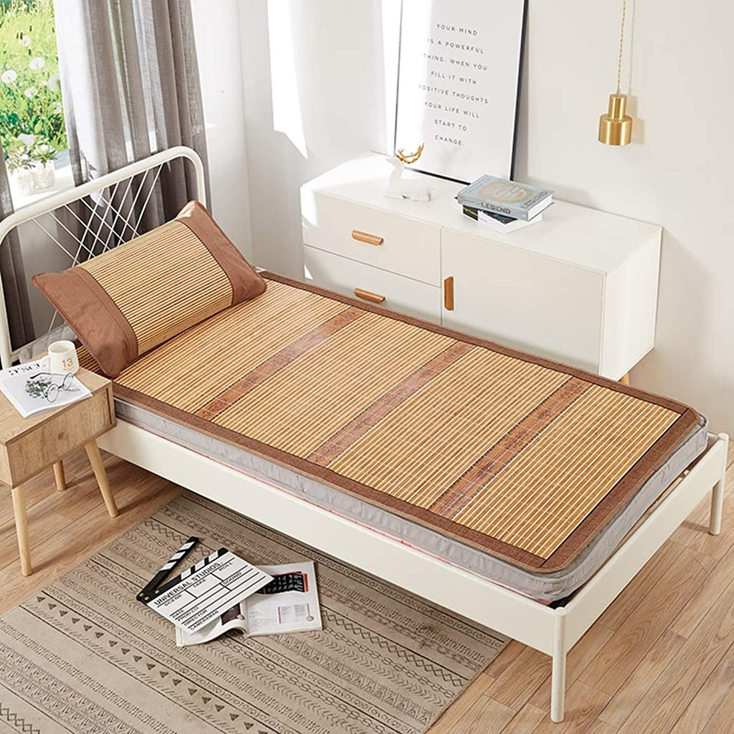 Single Mat 0.9 M Bed Bamboo Mat Summer Air-conditione Seats Foldable Student Dormitory (color   Brown, Size   90  195cm)