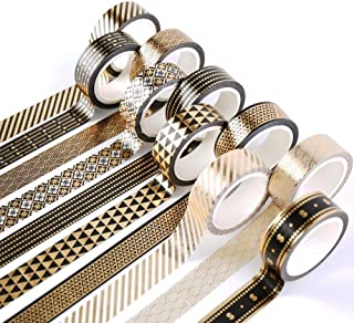 YUBBAEX 10 Rolls Washi Tape Set Black Gold Foil Print Decorative Tapes for Arts, DIY Crafts, Bullet Journals, Planners, Sc...