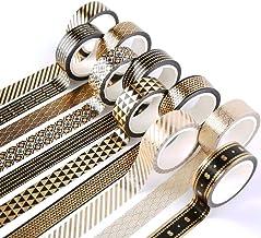 Washi Tape Set Black Gold Foil Print Decorative Masking Tape for Arts and DIY Crafts, Scrapbooking, Bullet Journal, Planne...