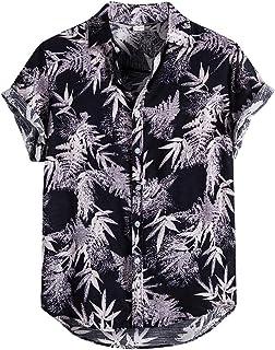 Linen Hawaiian Shirts for Men Casual Button-Down Shirt Summer Short Sleeve Beach Tops Lightweight T Shirt Blouse