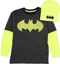 DC Comics Batman Boy's Black Shirt with Neon Long Sleeves and Neon Beanie