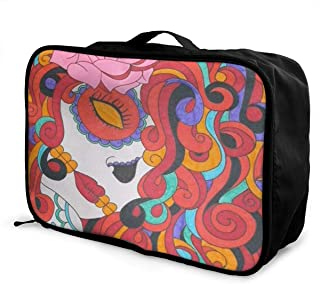 Lightweight Large Capacity Portable Luggage Bag Colorful Sugar Skull Drawings Travel Waterproof Foldable Storage Carry Tote Bag