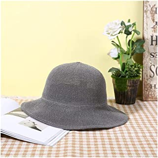 QinMei Zhou Hat Summer Korean Version of The Wave Side hat Sandals Straw Sun hat Straw hat (Color : Grey, Size : M56-58cm)