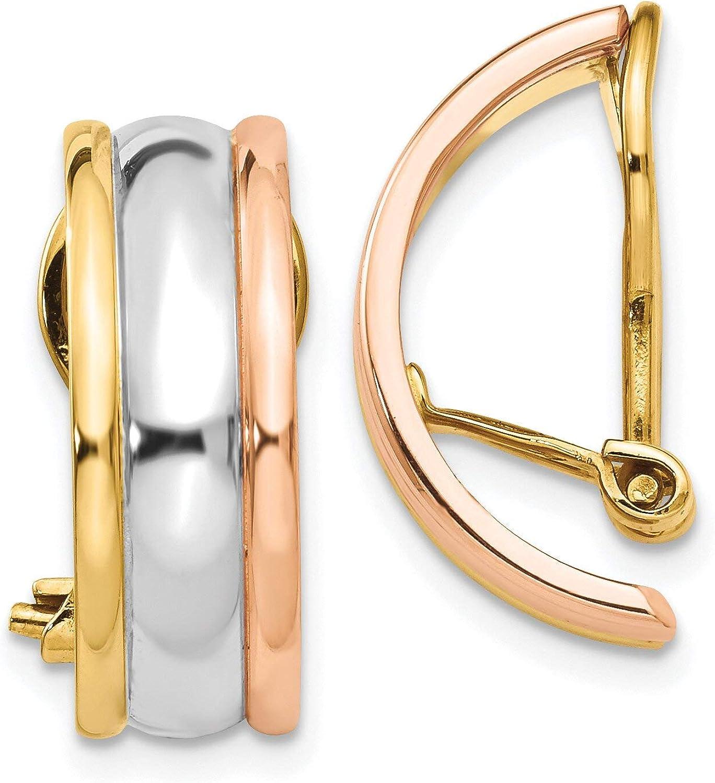 14K Gold Tri Color Clip On Hoop Earrings Jewelry