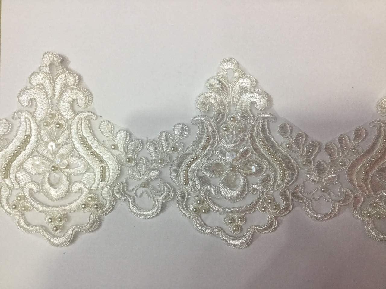 Beaded Lace Popularity Trim Sequinned Vintage 2021 model DIY Wedding Bridal Decorative