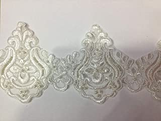 Beaded Lace Trim Sequinned Vintage Decorative Wedding/Bridal DIY Craft Sewing Coloured Fabric TR3 (Ivory 5 Yards)