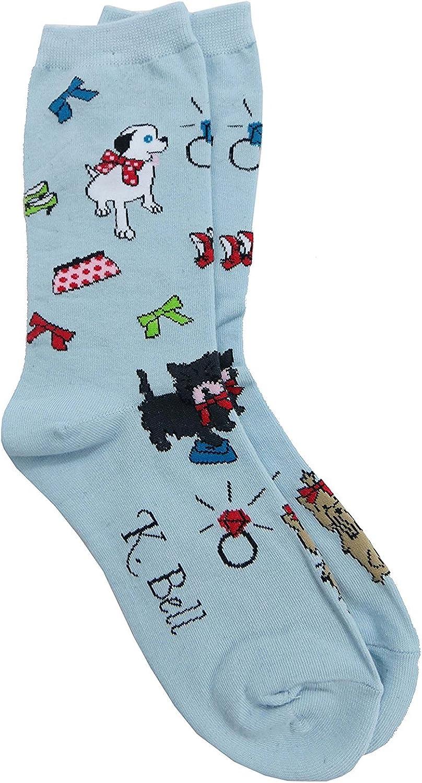 K. Bell Womens Purse Pup Crew Socks
