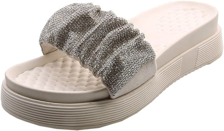 Slide Sandals for Women Rhinestone Platform Comfy Stylish Open Toe Slip on Soft Sole Leisure Roman Flat Slides