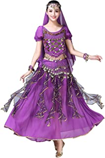 Women Belly Dance Dress Indian Bollywood Halloween Costume Chiffon Skirts Shiny Belly Dance Suits 5-Piece Outfit