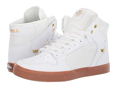 Supra Vaider (White/Gold/Light Gum) Skate Shoes