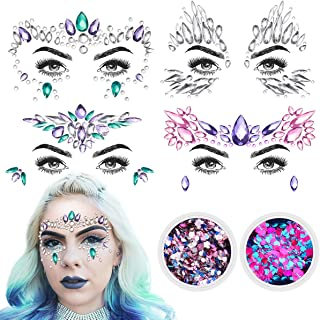 ETEREAUTY Face Jewels, Halloween 4 Sets Women Mermaid Face Gems & 2 Face Glitter for Music Rave Festival, Rhinestone Face Body Temporary Stickers