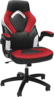 OFM Essentials Collection Racing Style Bonded Leather Gaming Chair, in Red/White