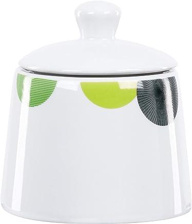 Preisvergleich für Van Well | Zuckerdose Rondo mit Deckel | 250-300 ml | runder Zucker-Spender | Abstraktes Design | Retro-Kreise grün-gelb | edles Porzellan-Geschirr