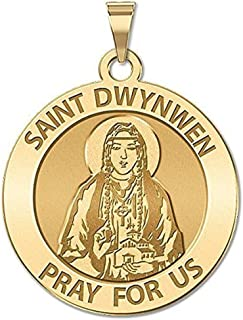 PicturesOnGold.com Saint Dwynwen Round Religious Medal - 3/4 Inch Size of a Nickel -Solid 14K Yellow Gold with Engraving