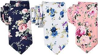 Skinny Ties Men's Cotton Printed Floral Necktie