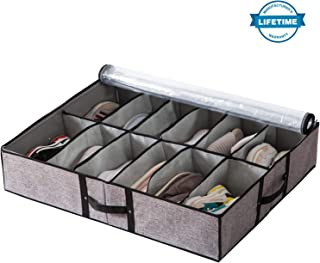 Extra-Large Underbed Shoe Organizer Box Collapsible Linen Fabric Container Drawers with 12 Cells(4 Bigger Cells in Corner) Reinforced Handles and Solid Zipper with See Through Top Cover