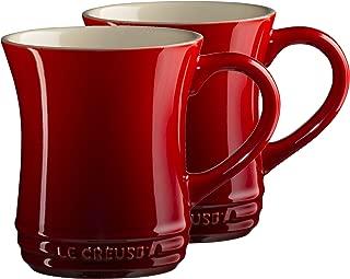 Le Creuset Cerise Cherry Stoneware 14 Ounce Tea Mug, Set of 2
