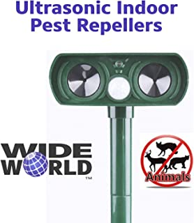 Ultrasonic Pest Repeller by Wide World - Solar Powered Waterproof Outdoor Wild Animal Repeller - Motion Sensor and Powerful Sound for Deer Cat Dog Squirrel Mole Rat Fox Wolf Raccoon - Sound Control