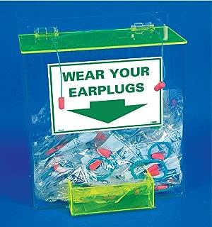 "NMC AEP-D Large Earplug Dispenser, ""WEAR Your EARPLUGS"", 13"" x 12"" x 8"", Acrylic, Green & Transparent"