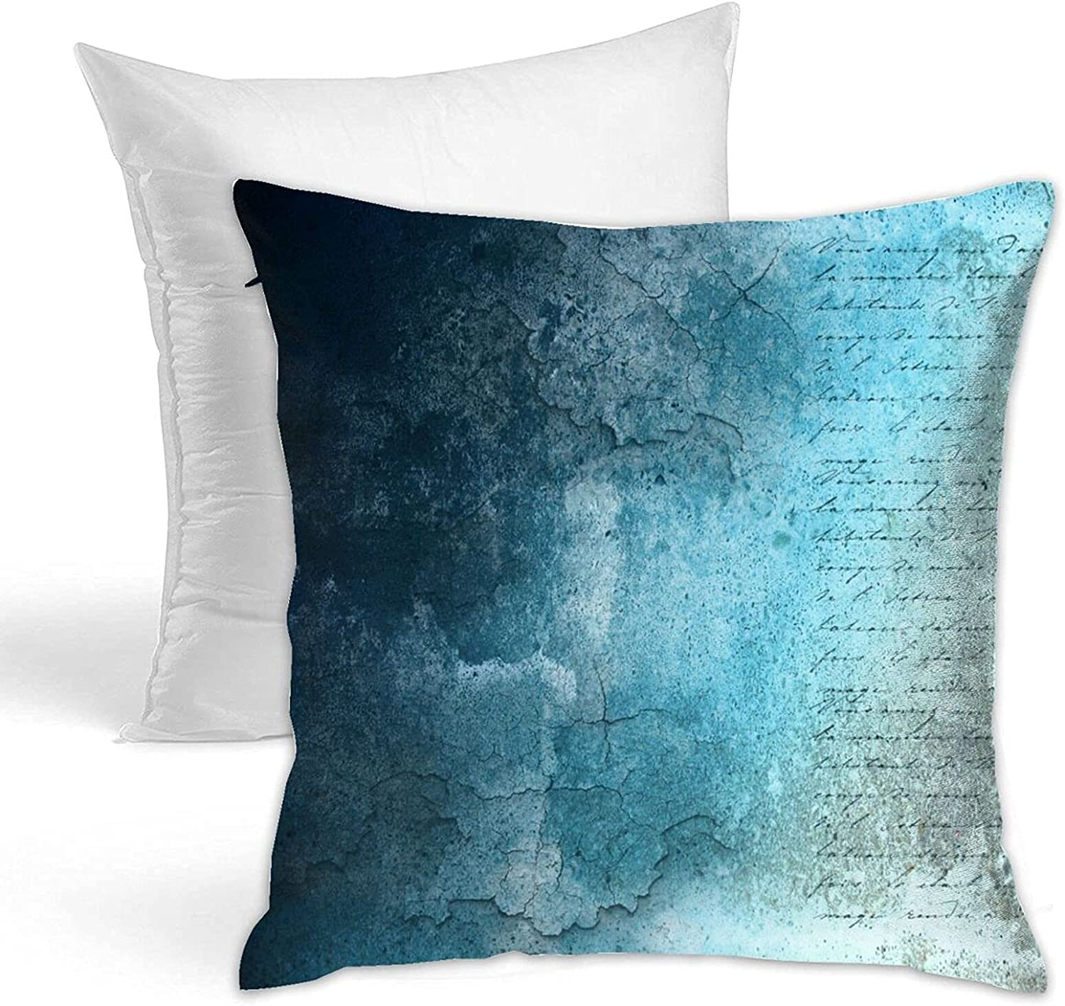 QIAOQIAO Throw Pillow Blue Grunge Pillo Decorative Vintage Paper New half York Mall