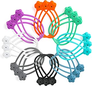 24 Pack Magnetic Twist Ties 7.48 Inch Silicone Reusable Cable Tie 8 Colors by SOOOEC, Flower Shape