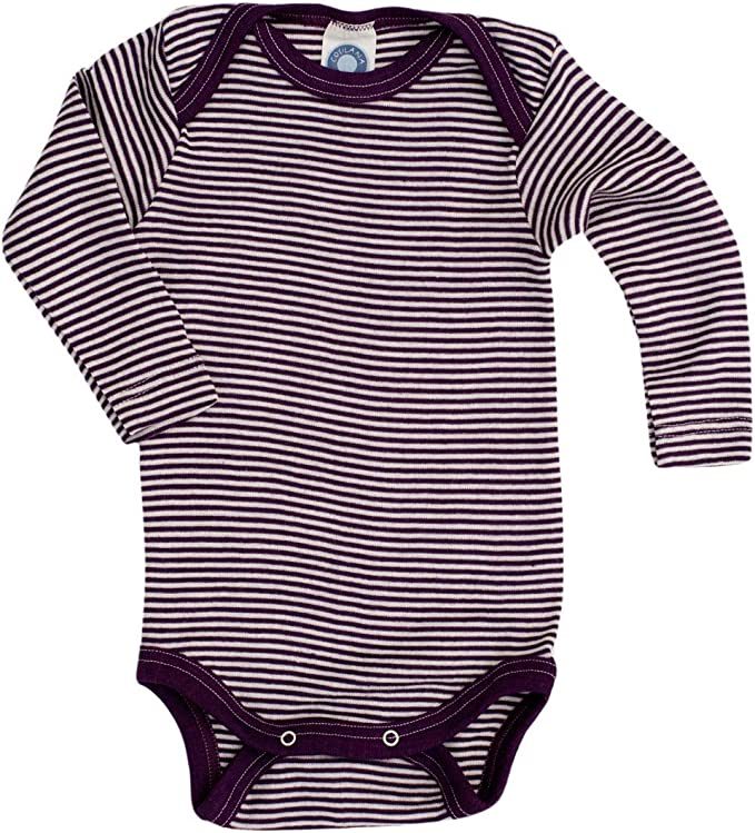 Baby Cosilana, Body langarm, 70% Wolle (kbT), 30% Seide Geringelt Pflaume-natur