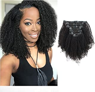 Sassina 4B 4C Afro Coily Clip in Hair Extensions Human Hair For Black Women Double Wefts Remy Kinky Curly Style Clip on 7 Pieces 120 Grams With 17 Clips 4AC 14 Inch