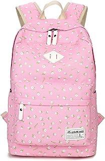 DNFC Rucksack Canvas Schulrucksack Mädchen Teenager Fashion Schulranzen Freizeitrucksack Mode Daypack Backpack Blumen Schultasche Pink