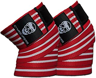 Gymreapers Knee Wraps (Pair) with Strap for Squats, Weightlifting, Powerlifting, Leg Press, and Cross Training - Flexible 72 inch Knee Wraps for Squatting - for Men & Women
