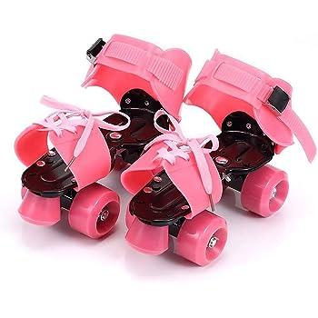 YUANJ ローラースケート 四輪 子供用 PVCホイール 滑り止め設計 着脱/サイズ調節可能 靴に直接取付 適合靴サイズ:19cm〜25cm 静音 乗り心地最高 初心者向け 安全設計 キッズ 対象年齢6歳以上 男女兼用(ピンク)