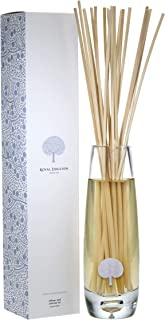 ROYAL DOULTON Luxury Reed Diffuser & Glass Vase Set - Reed Sticks. Long Lasting Natural Scented (6+ Months) 500 ml / 16.5 oz - White Woods & Jasmine