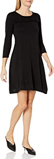 NINE WEST Women's 3/4 Sleeve Fit & Flare Dress with Ruffle Detail