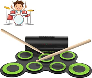 ORASANT Electronic Drum Set, Roll Up Electric Drum Set for Kids with Headphone Jack, Built in Speaker and Rechargeable Battery, Drum Stick, Foot Pedals, Best Gift for Holiday Birthday Christmas