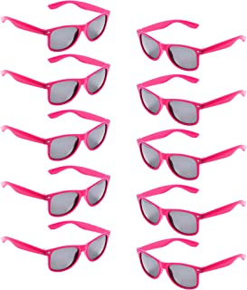 10 Packs UV Protection Neon Colors 80's Retro Style Party Favors Sunglasses