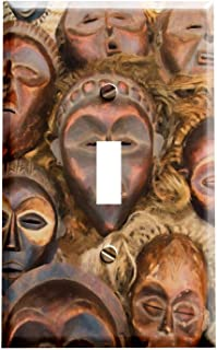 African Mask Brown Switchplate - Switch Plate Cover