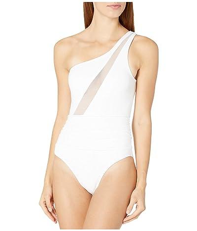 La Blanca Mesh-Merizing Mesh Front Draped One Shoulder Mio One-Piece (White) Women