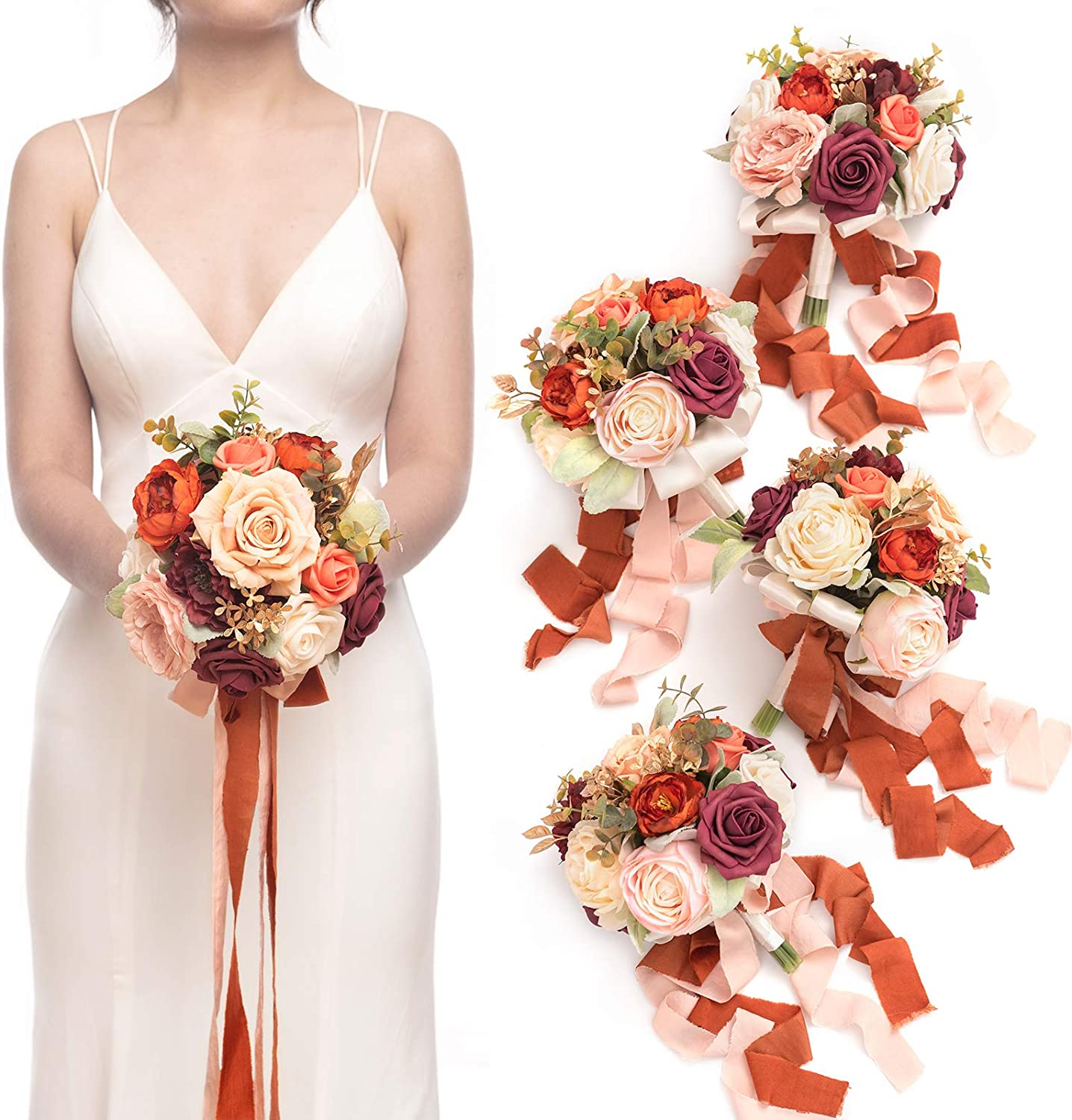 Ling's moment Burnt Orange 7 Bou Discount is also underway Inch Wedding Reservation Artificial Flowers