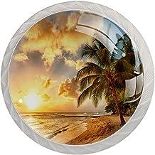 Lade handgrepen trekken ronde kristallen glazen kast knoppen keuken kast handvat,Tropische zee strand palmboom zonsondergang