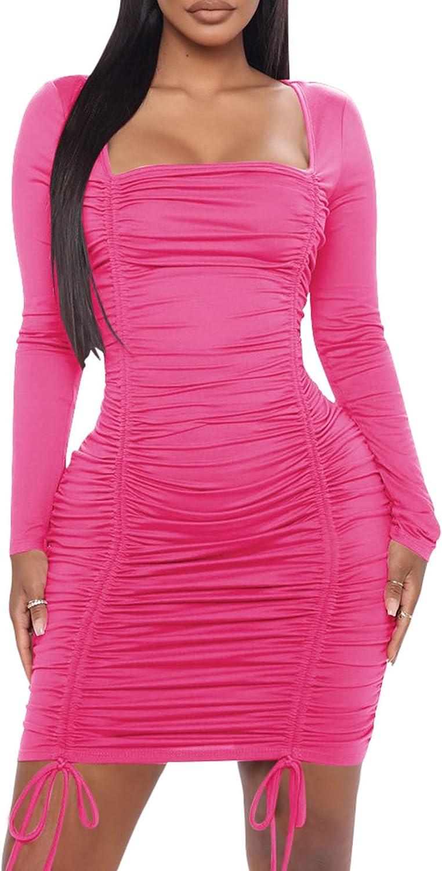 ECHOINE Womens Sexy Ruched Dress Club Bodycon Party Mini Pencil Dress
