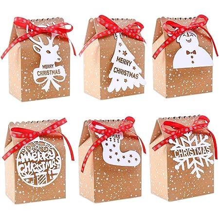 12 X Christmas Santa Claus Snowflake Paper Gift Bags Handle Bags Party Favor