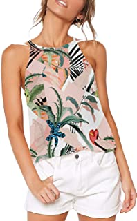 Aokosor Halter Tops for Women High Neck Spaghetti Strap Tank Floral Print Sleeveless Shirts