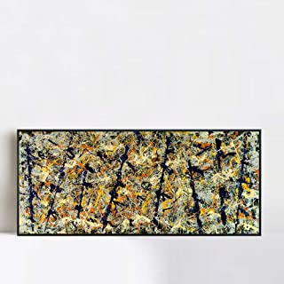 INVIN ART Framed Canvas Giclee Print Art Blue Poles (Number 11) by Jackson Pollock Wall Art Living Room Home Office Decorations(Black Slim Frame,20