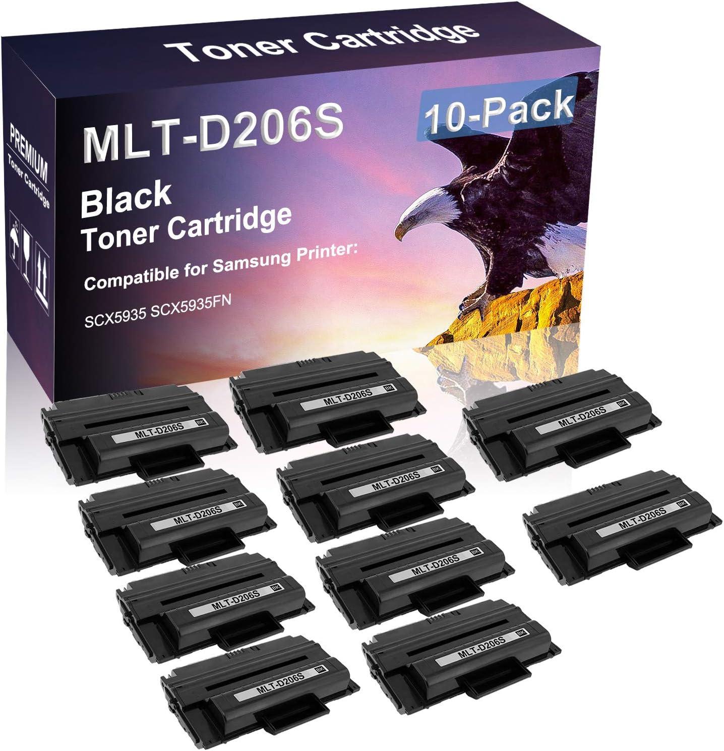 10 Pack (Black) Compatible High Capacity D206S MLT-D206S Printer Toner Cartridge Use for Samsung SCX5935 SCX5935FN Printer