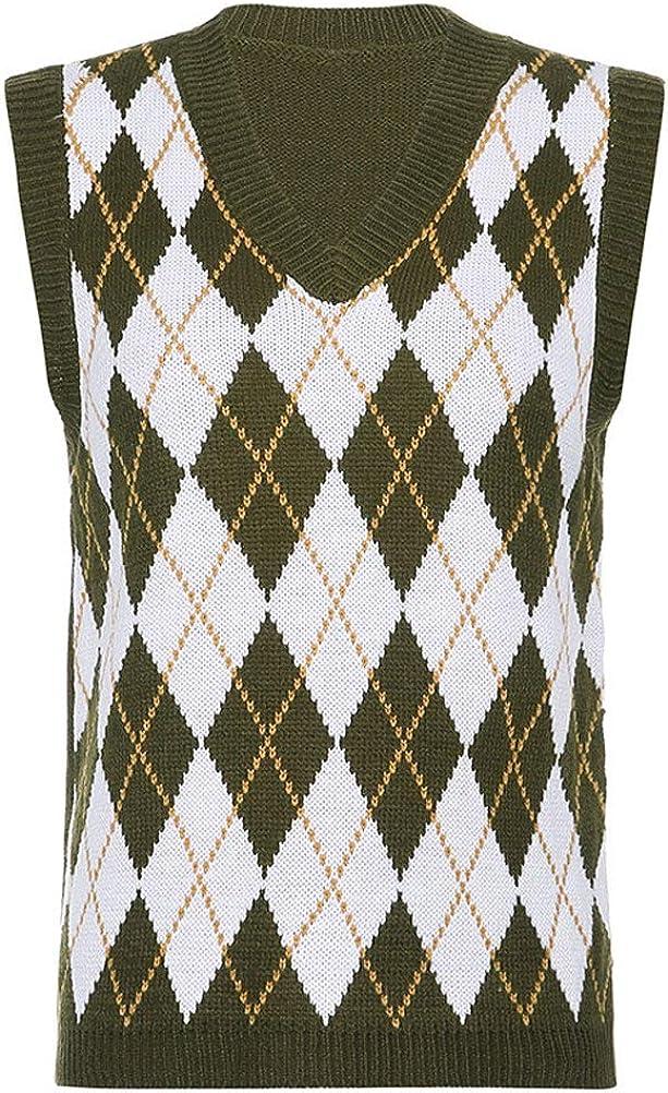 PAODIKUAI Women's V Neck Plaid Knit Sweater Vest Pullover Uniform Argyle Sweater Vest